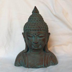Buddha mellszobor – zöld-arany