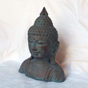 Buddha mellszobor - zöld-arany